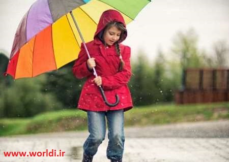 little girl on the rain