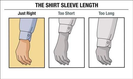 اندازه بلندی قد آستین پیراهن