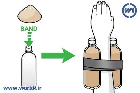 ساخت دمبل با بطری و شن
